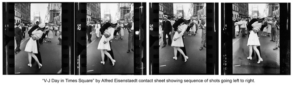 Alfred Eisenstaedt four shots of famous image in sequence.